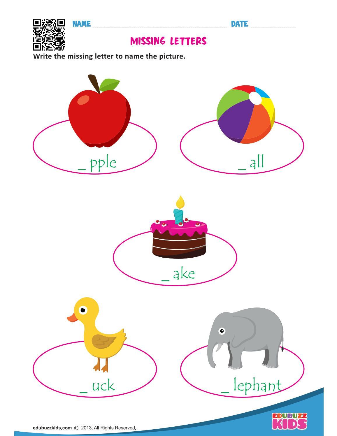 Missing Letters Worksheets for Kindergarten Missing Letters Worksheets for Kindergarten by Edubuzzkids