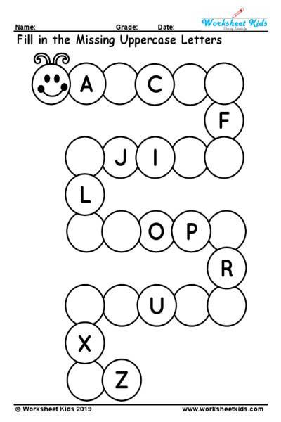 Missing Letters Worksheets for Kindergarten Uppercase Missing Alphabet Worksheet A to Z Free Printable Pdf