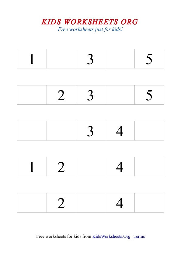 Missing Number Worksheet for Kindergarten 1 5 Missing Number Worksheet