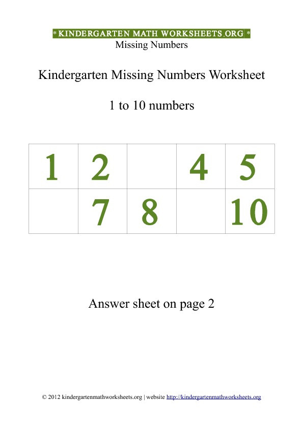 Missing Number Worksheet for Kindergarten Kindergarten 1 to 10 Missing Numbers Worksheet