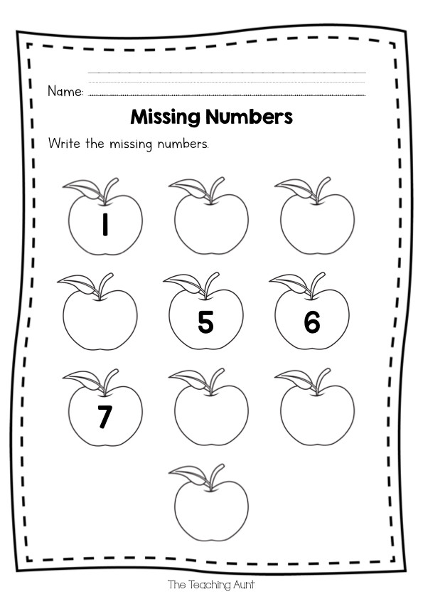 Missing Number Worksheets Kindergarten Free Missing Numbers Worksheets the Teaching Aunt