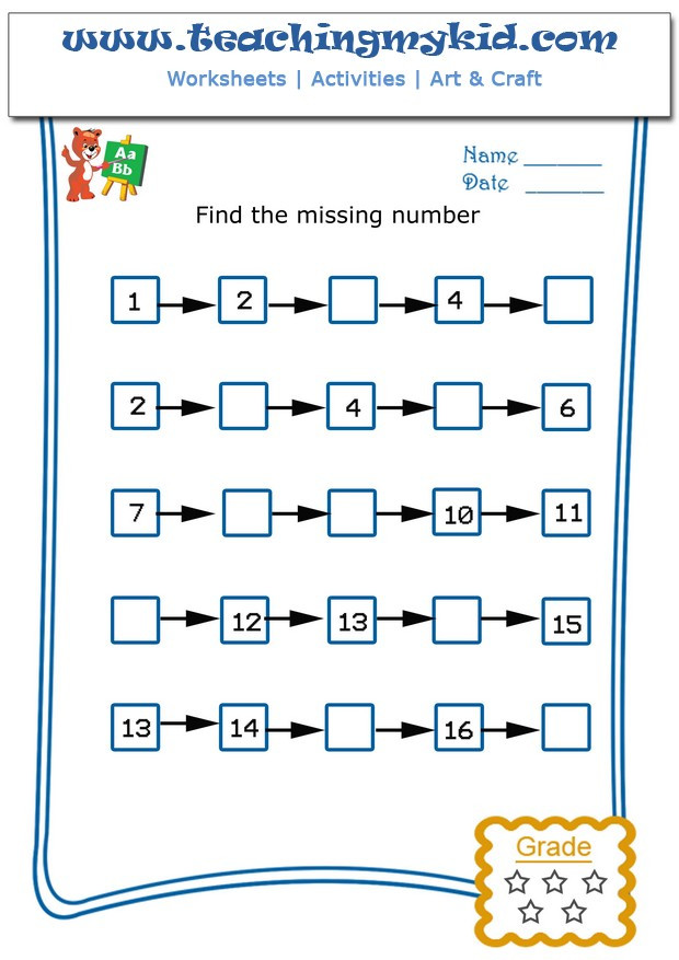 Missing Number Worksheets Kindergarten Write the Missing Number 4 Archives Teaching My Kid