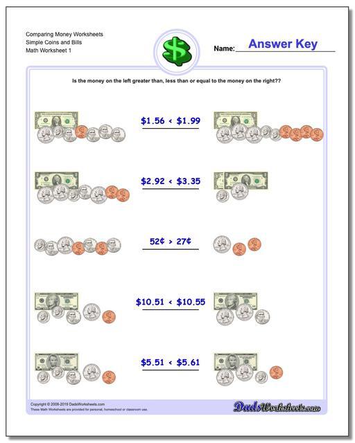Money Worksheets 3rd Grade Paring Money