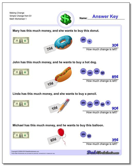 Money Worksheets for 3rd Grade Money