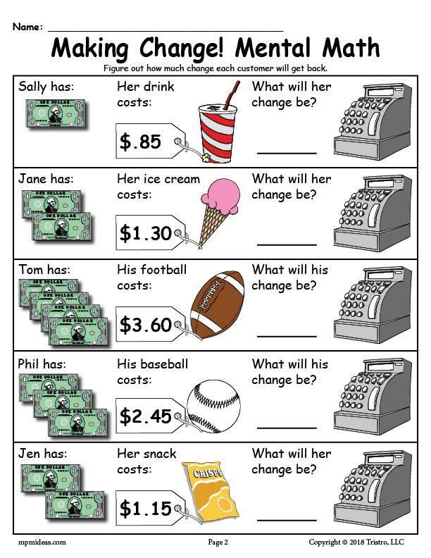 Money Worksheets for 3rd Grade Printable Making Change Money Worksheets 2 Versions