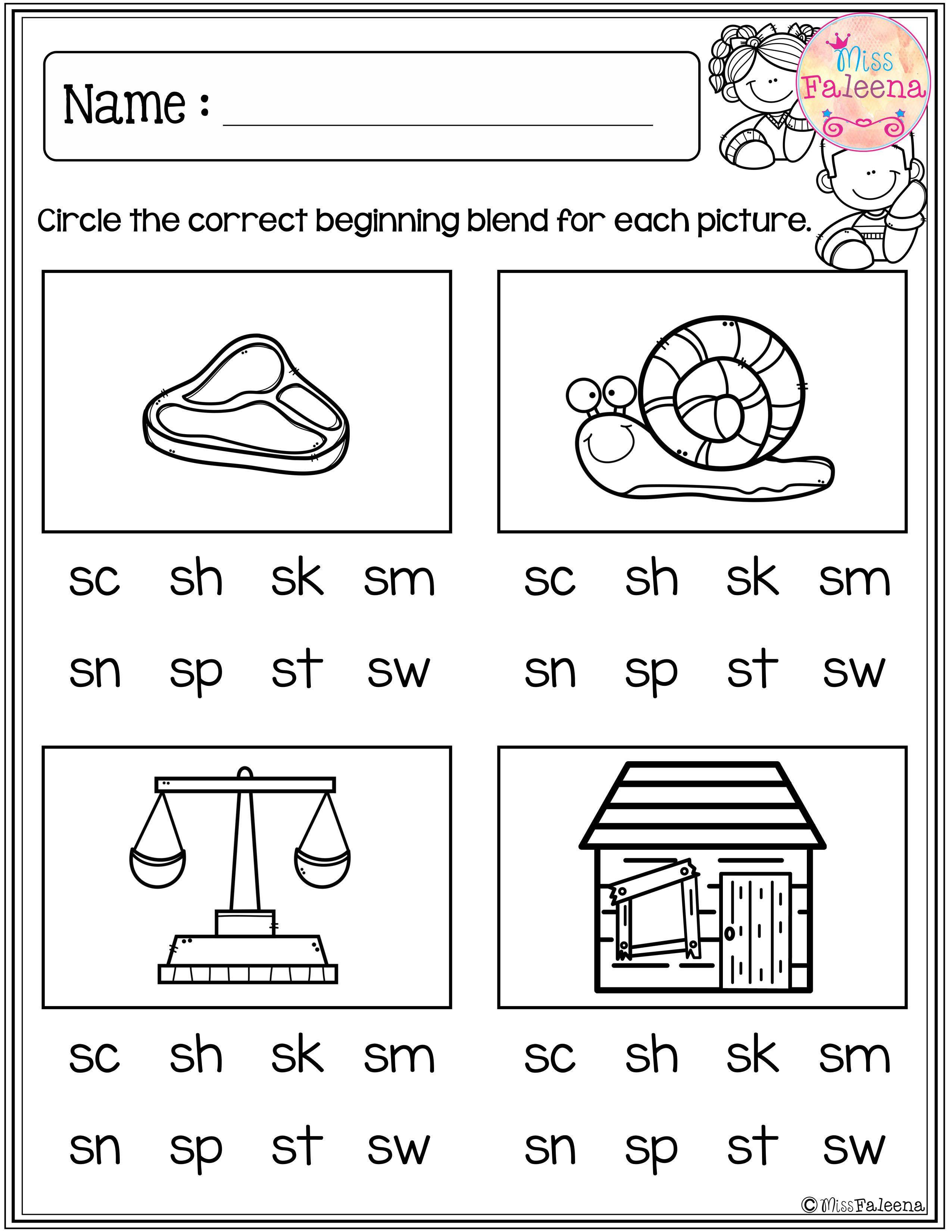 Morning Worksheets for Kindergarten Free Beginning Blends Activities