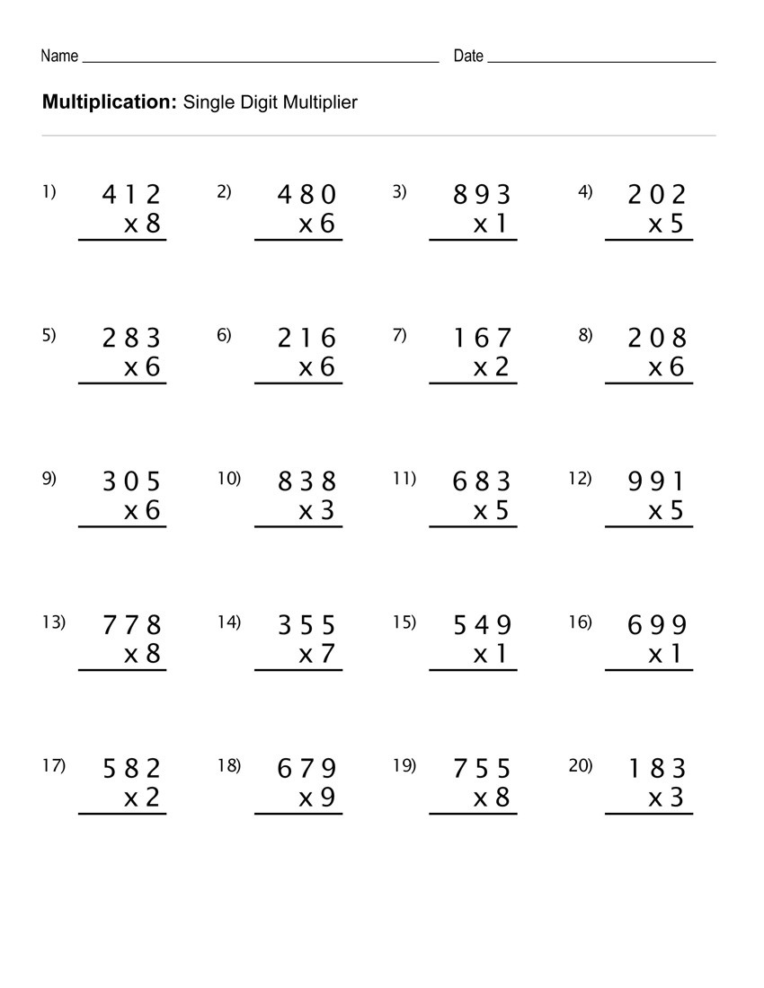 Multiplication Worksheets Grade 4 4th Grade Multiplication Worksheets Best Coloring Pages