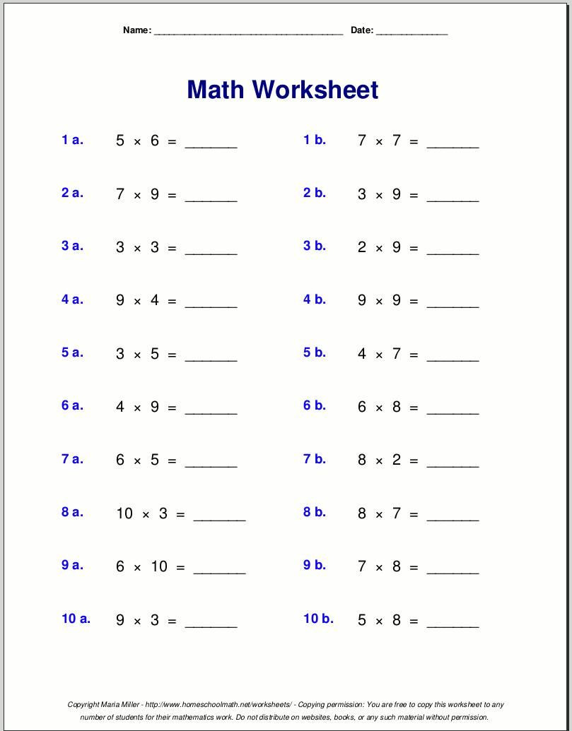 Multiplication Worksheets Grade 4 Multiplication Worksheets Grade 4