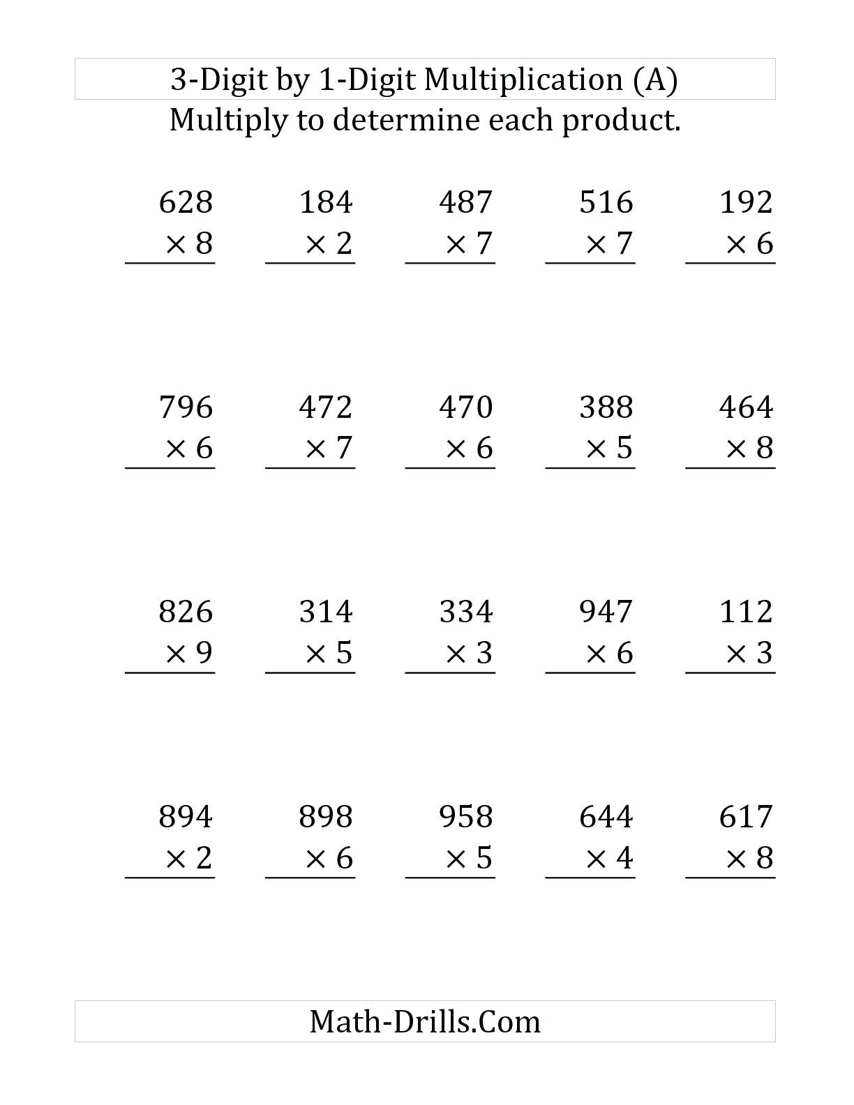 Multiplication Worksheets Grade 4 Three Digit Multiplication Worksheets Free Printable Triple