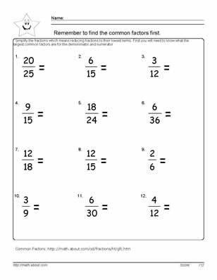 Multiplying Fractions Worksheet 6th Grade 9 Worksheets On Simplifying Fractions for 6th Graders