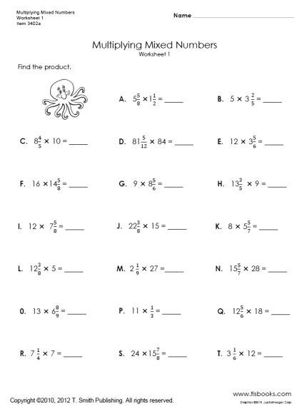 Multiplying Fractions Worksheet 6th Grade Multiplying Mixed Numbers Worksheets 1 and 2