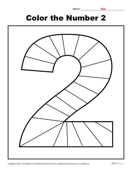 Number 2 Worksheets for Preschool Color the Number 2