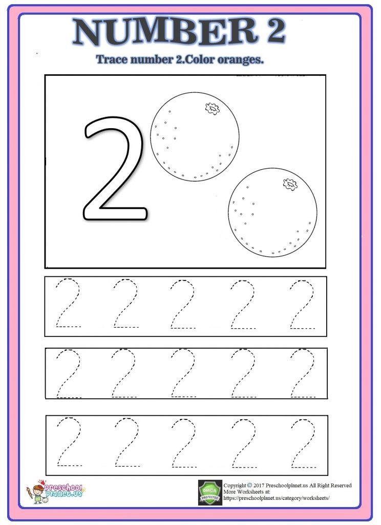 Number 2 Worksheets for Preschool Number 2 Trace Worksheet – Preschoolplanet