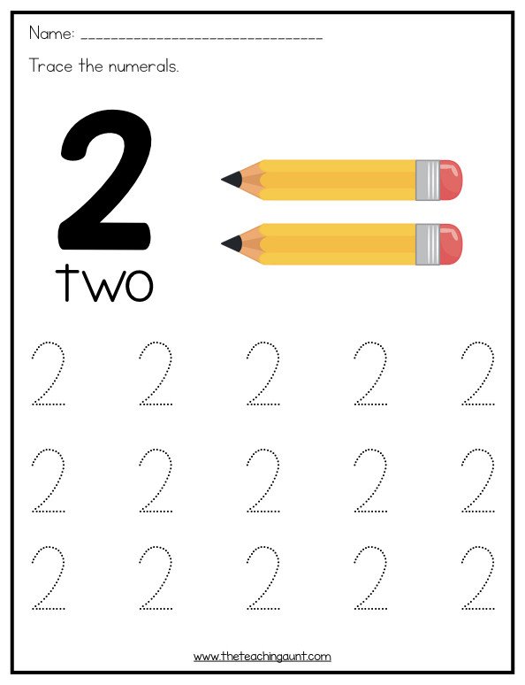 Number 2 Worksheets for Preschool Number Tracing Worksheets for Preschoolers the Teaching Aunt