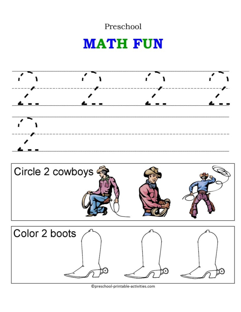 Number 2 Worksheets for Preschool Number Worksheets