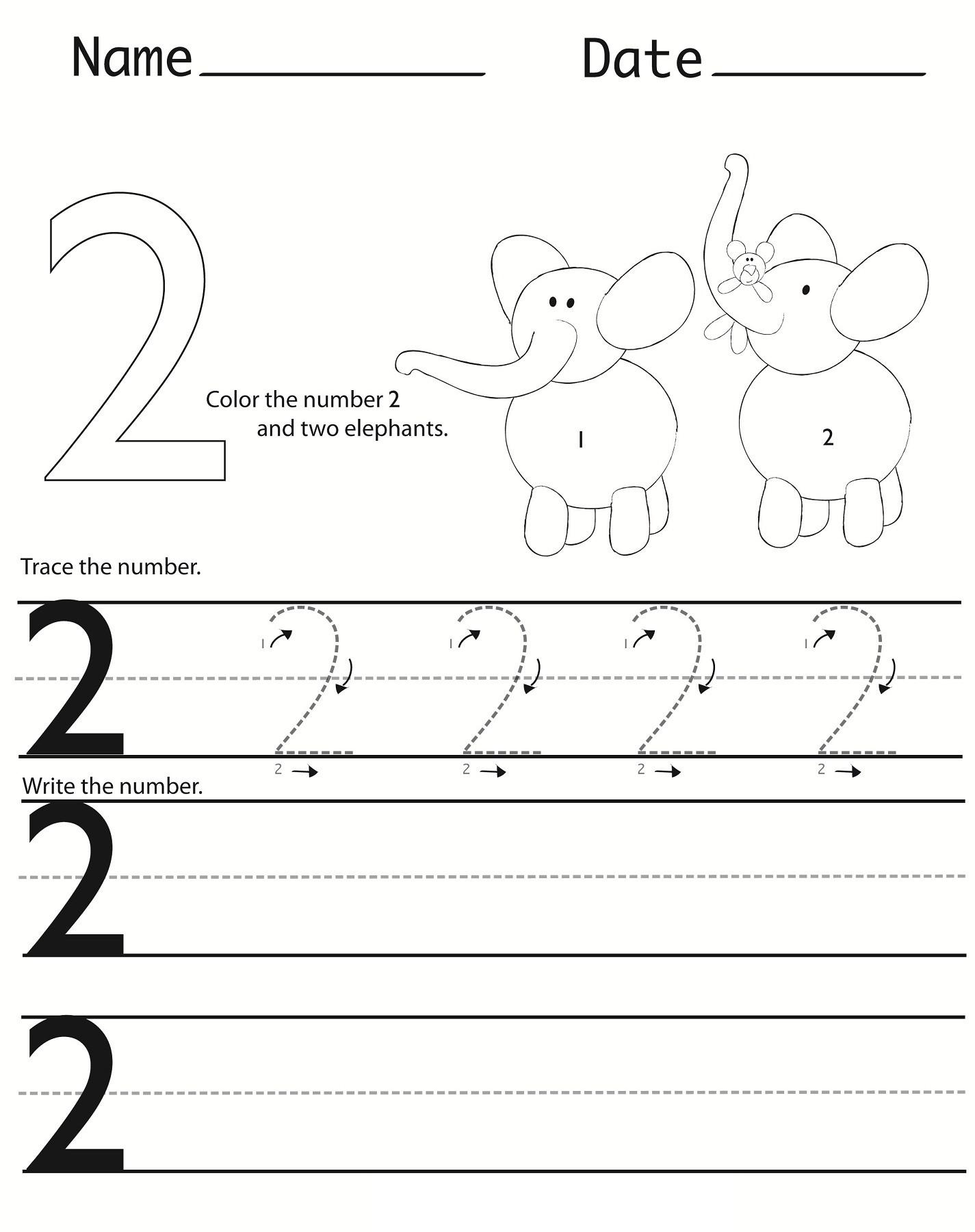 Number 2 Worksheets for Preschool Writing Numbers Worksheets