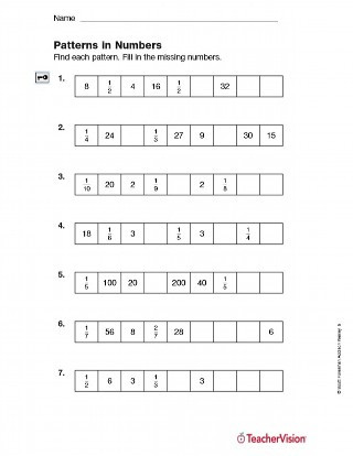Number Pattern Worksheets 5th Grade Patterns In Numbers Fractions Printable 5th Grade