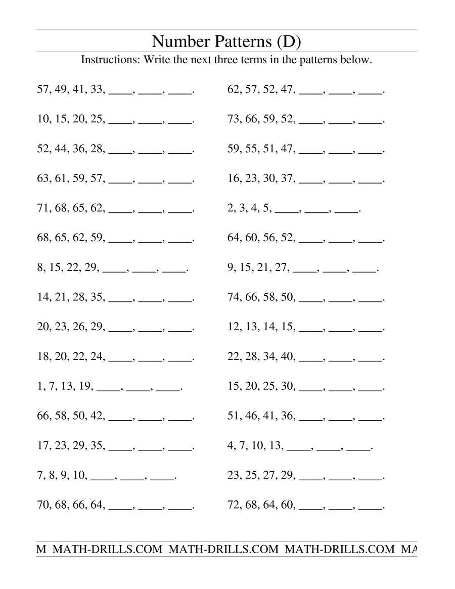 Number Pattern Worksheets 5th Grade the Growing and Shrinking Number Patterns D Math Worksheet