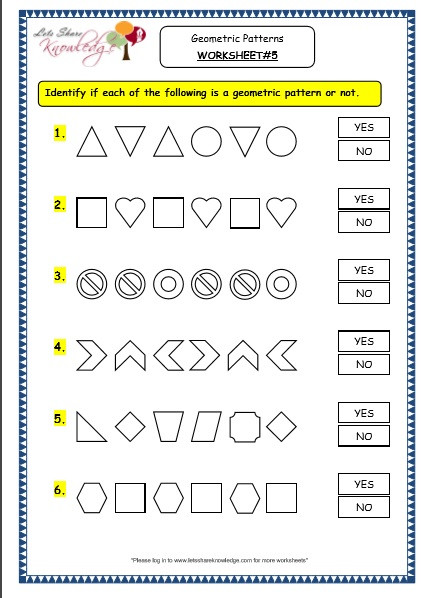 Number Patterns Worksheets Grade 6 Grade 3 Maths Worksheets 14 9 Geometry Geometric Patterns