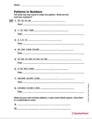 Number Patterns Worksheets Grade 6 Patterns In Numbers Guess the Rule Printable 4th Grade