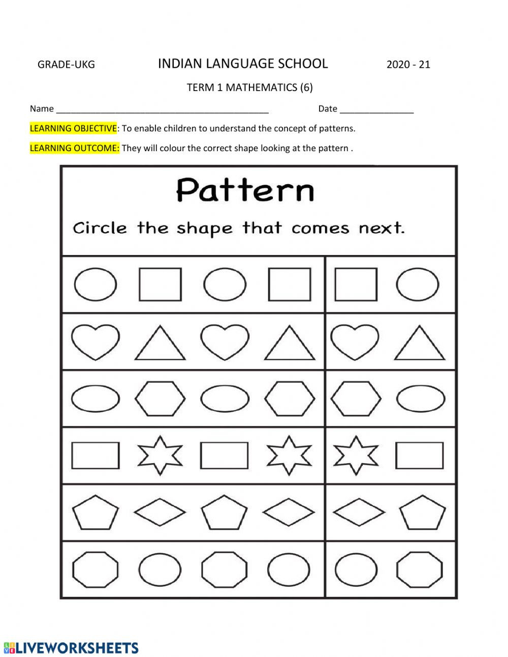 Number Patterns Worksheets Grade 6 Shapes and Patterns Interactive Worksheet