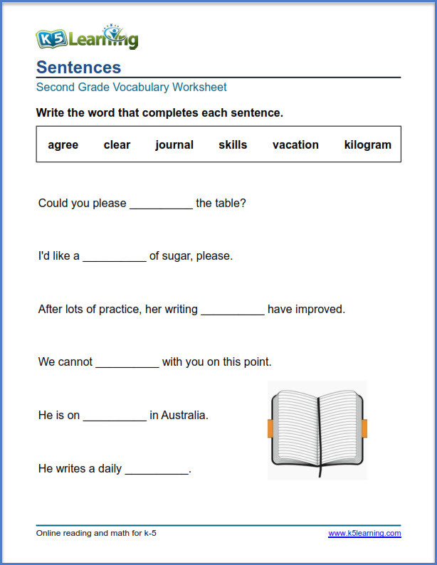 Number Sentence Worksheets 2nd Grade 2nd Grade Vocabulary Worksheets – Printable and organized by