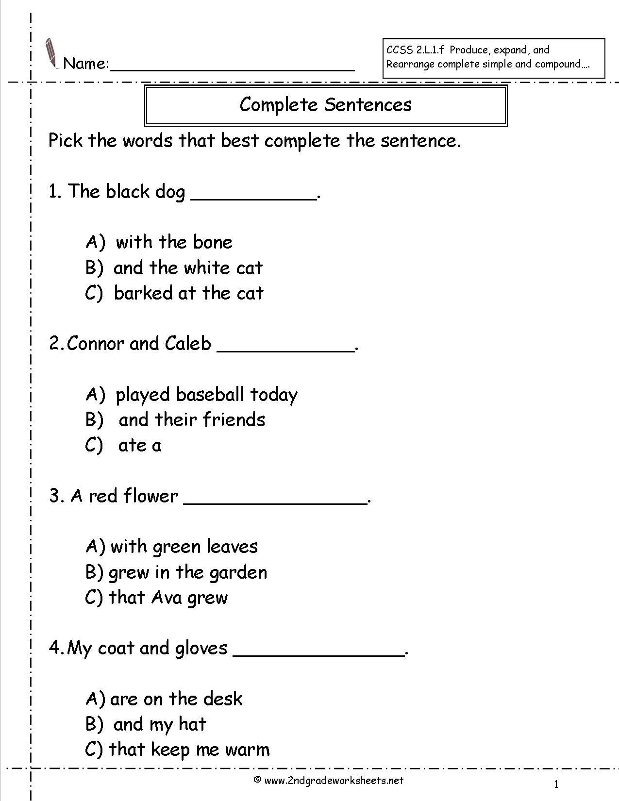 Number Sentence Worksheets 2nd Grade Second Grade Sentences Worksheets Ccss 2 L 1 F Worksheets