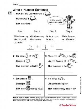Number Sentence Worksheets 2nd Grade Write A Number Sentence Printable 1st Grade Teachervision