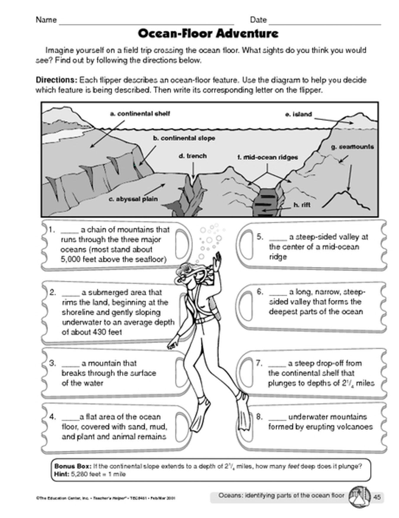 Ocean Floor Worksheets 5th Grade Ocean Floor Diagram Worksheet Unorthodox Ocean Adventure 16