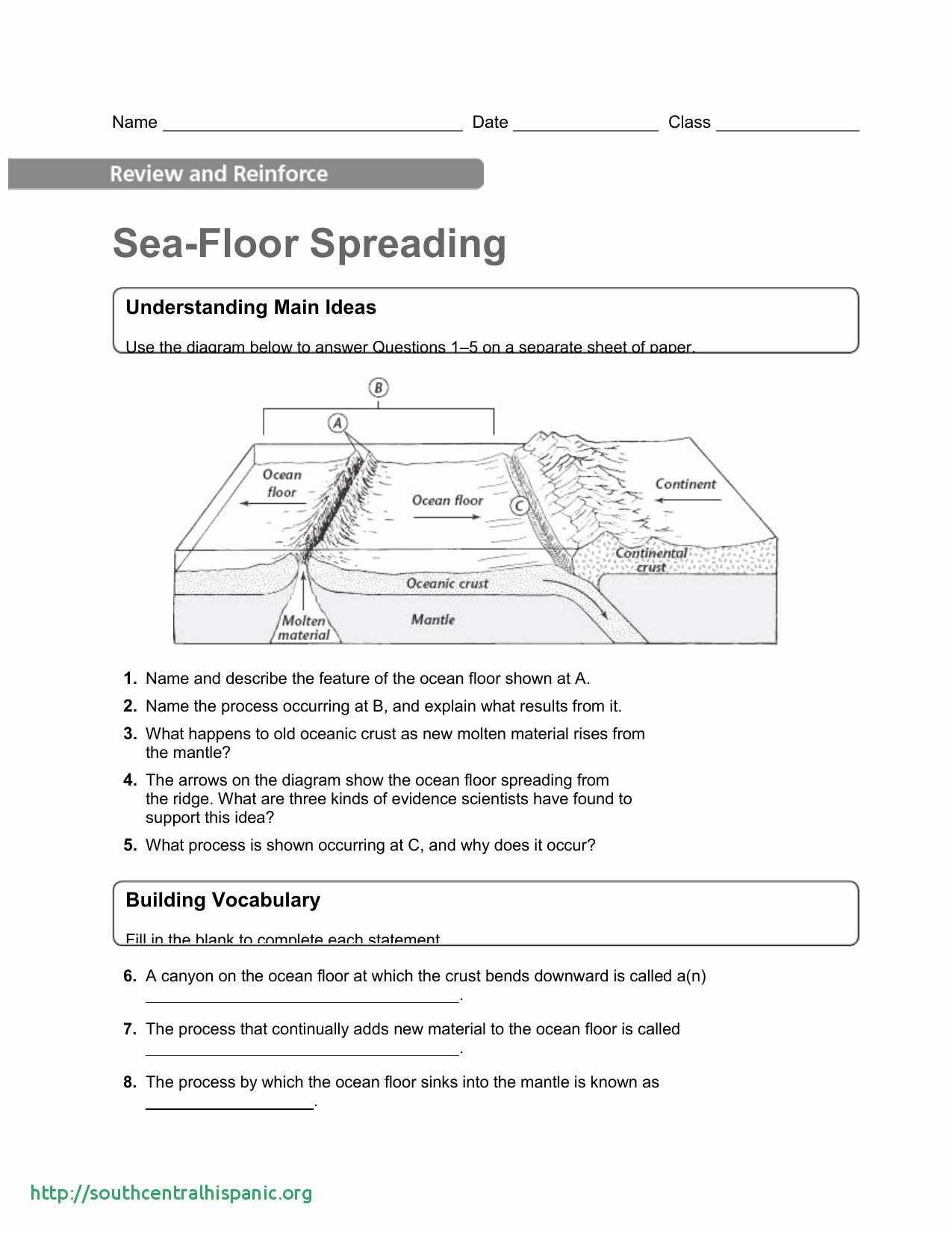 Ocean Floor Worksheets 5th Grade Sea Floor Worksheet