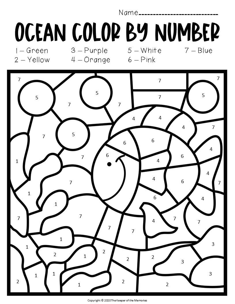 Ocean Worksheets for Preschool Color by Number Ocean Preschool Worksheets Under the Sea