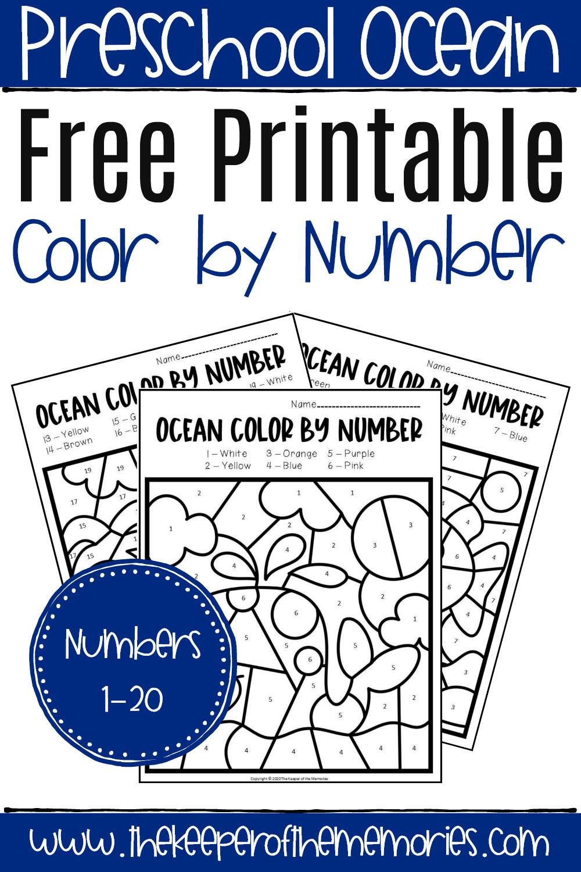 Ocean Worksheets for Preschool Free Printable Color by Number Ocean Preschool Worksheets