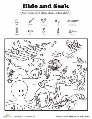 Ocean Worksheets for Preschool Hide and Seek