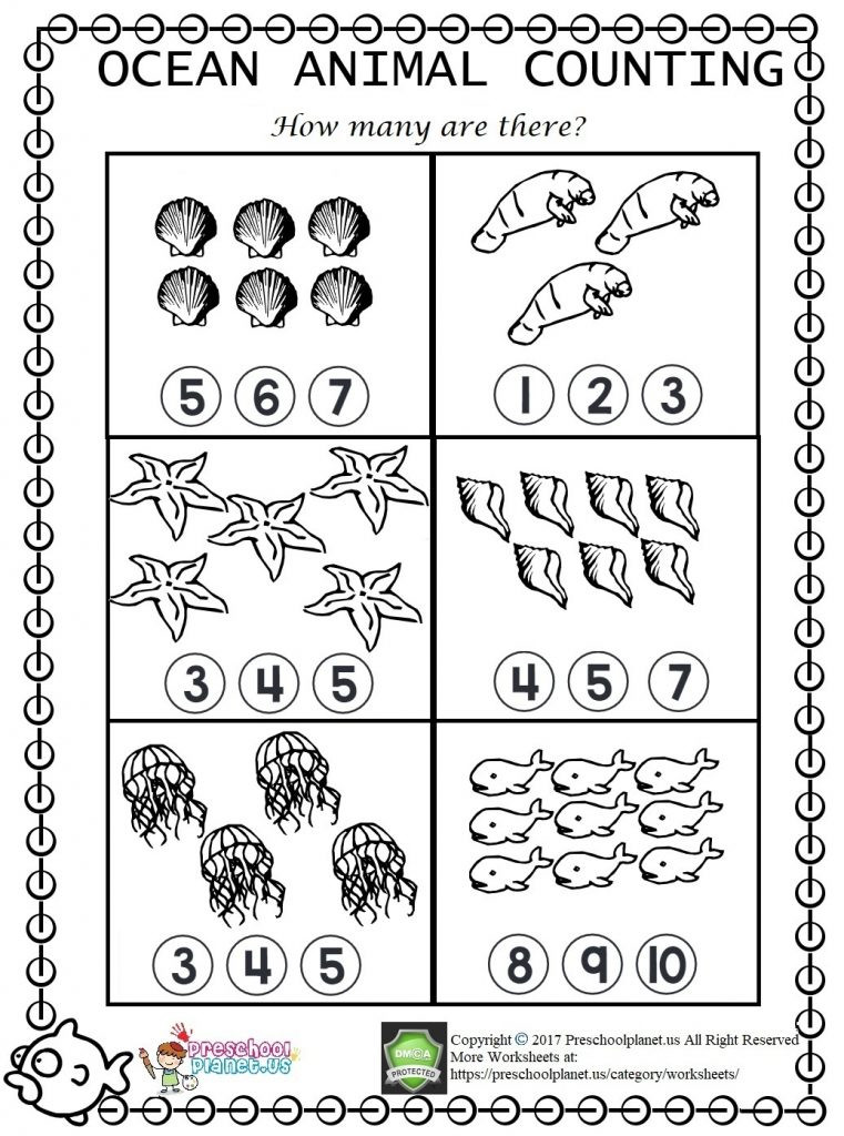 Ocean Worksheets for Preschool Sea Animal Counting Worksheet – Preschoolplanet