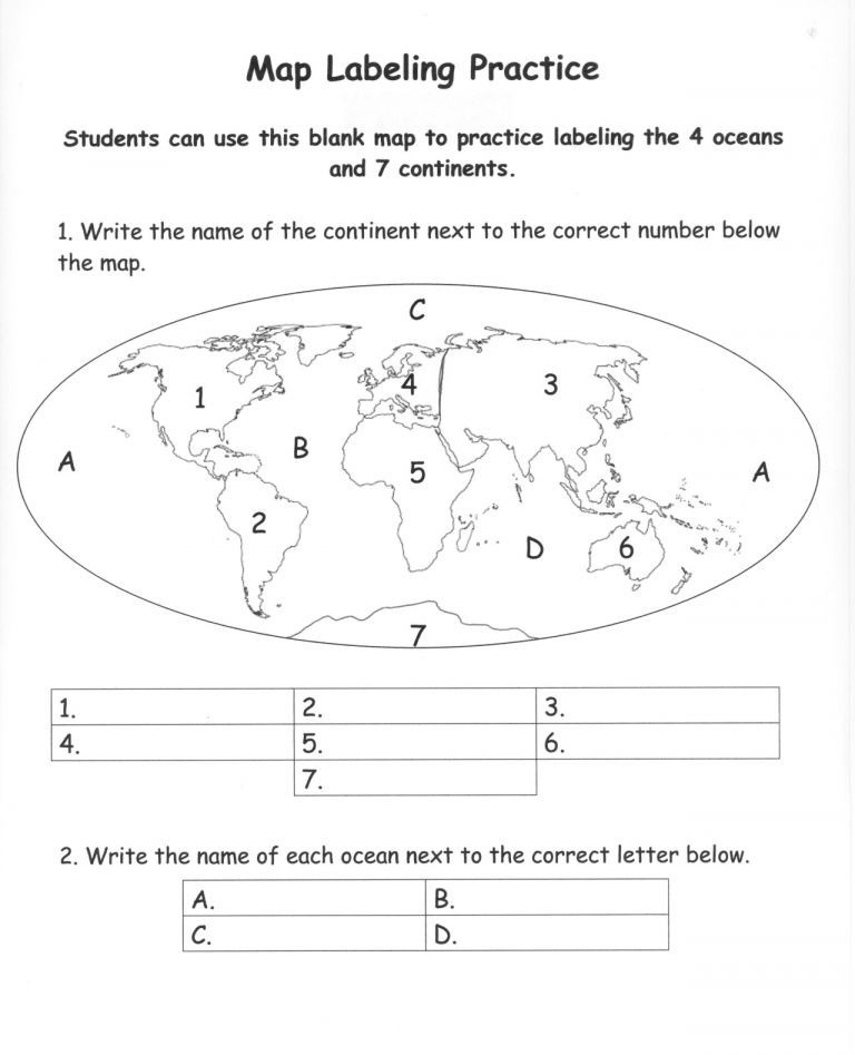 Oceans and Continents Worksheets Printable 10 7 Continents Worksheet 1st Grade