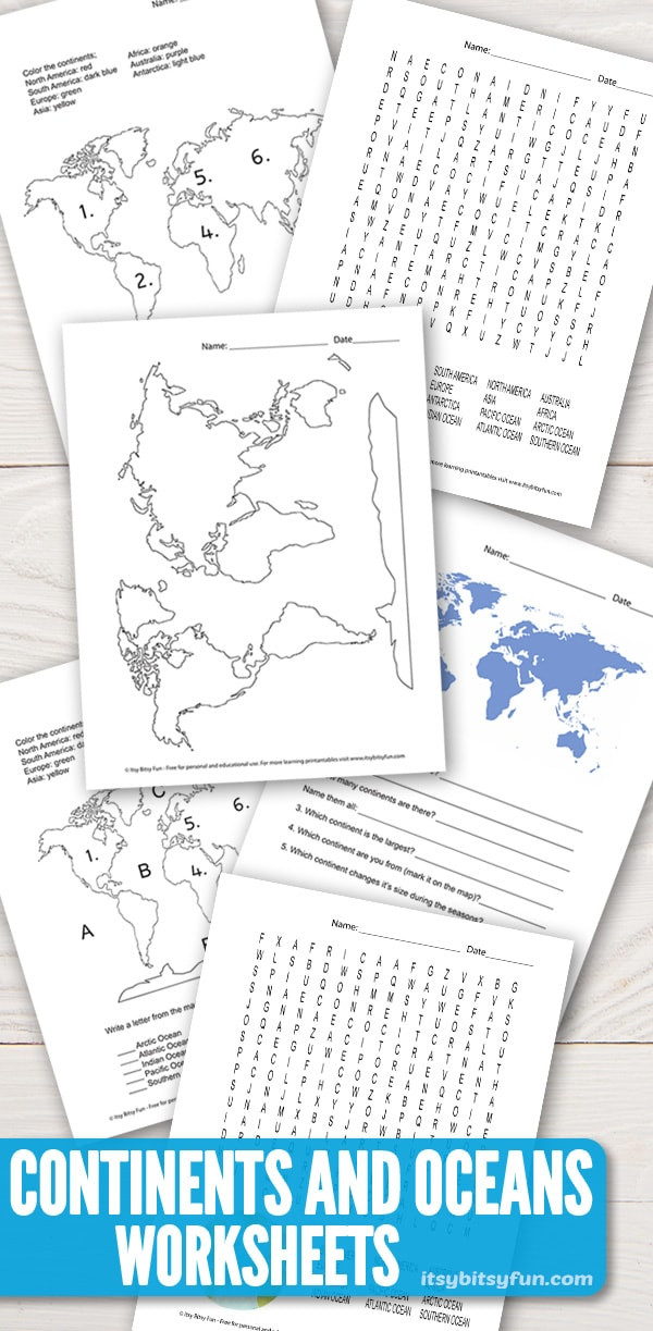 Oceans and Continents Worksheets Printable Continents and Oceans Worksheets Free Word Search Quiz