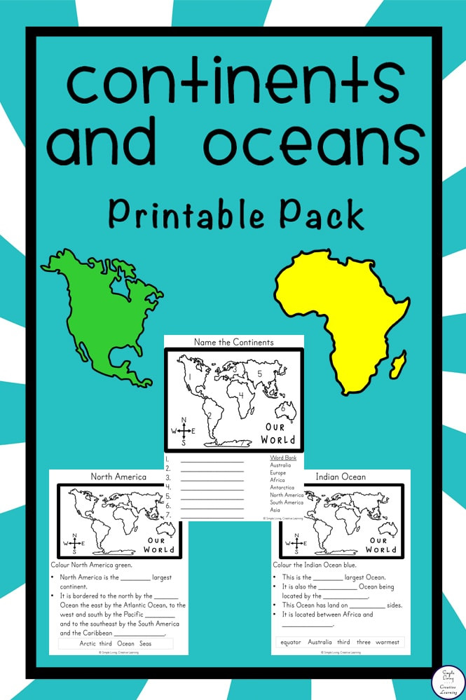 Oceans and Continents Worksheets Printable Free Continents and Oceans Printable Pack Simple Living