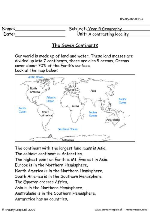 Oceans and Continents Worksheets Printable Geography the Seven Continents Worksheet