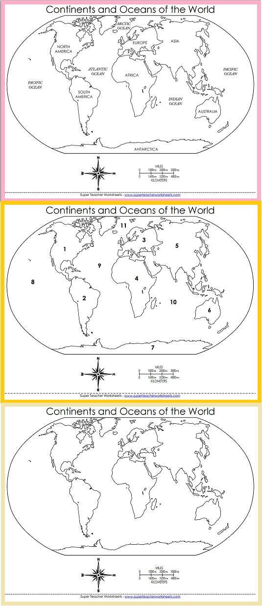 Oceans and Continents Worksheets Printable Printable World Maps
