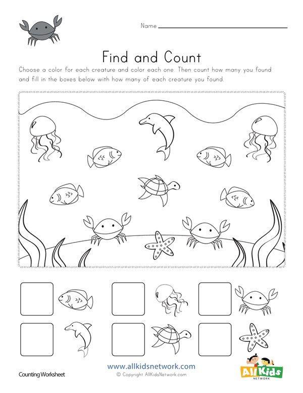 Oceans Worksheets for Kindergarten Ocean Find and Count Worksheets All Kids Network