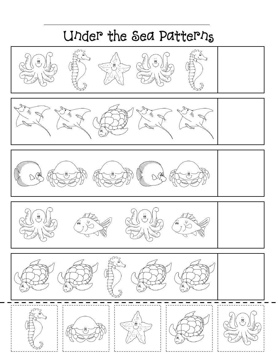 Oceans Worksheets for Kindergarten Ocean Patterns Scribd