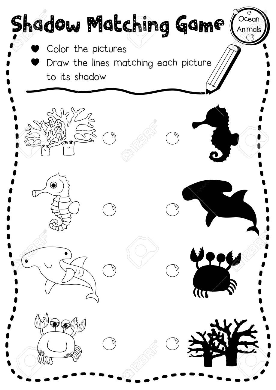 Oceans Worksheets for Kindergarten Shadow Matching Game Of Ocean Animals for Preschool Kids Activity