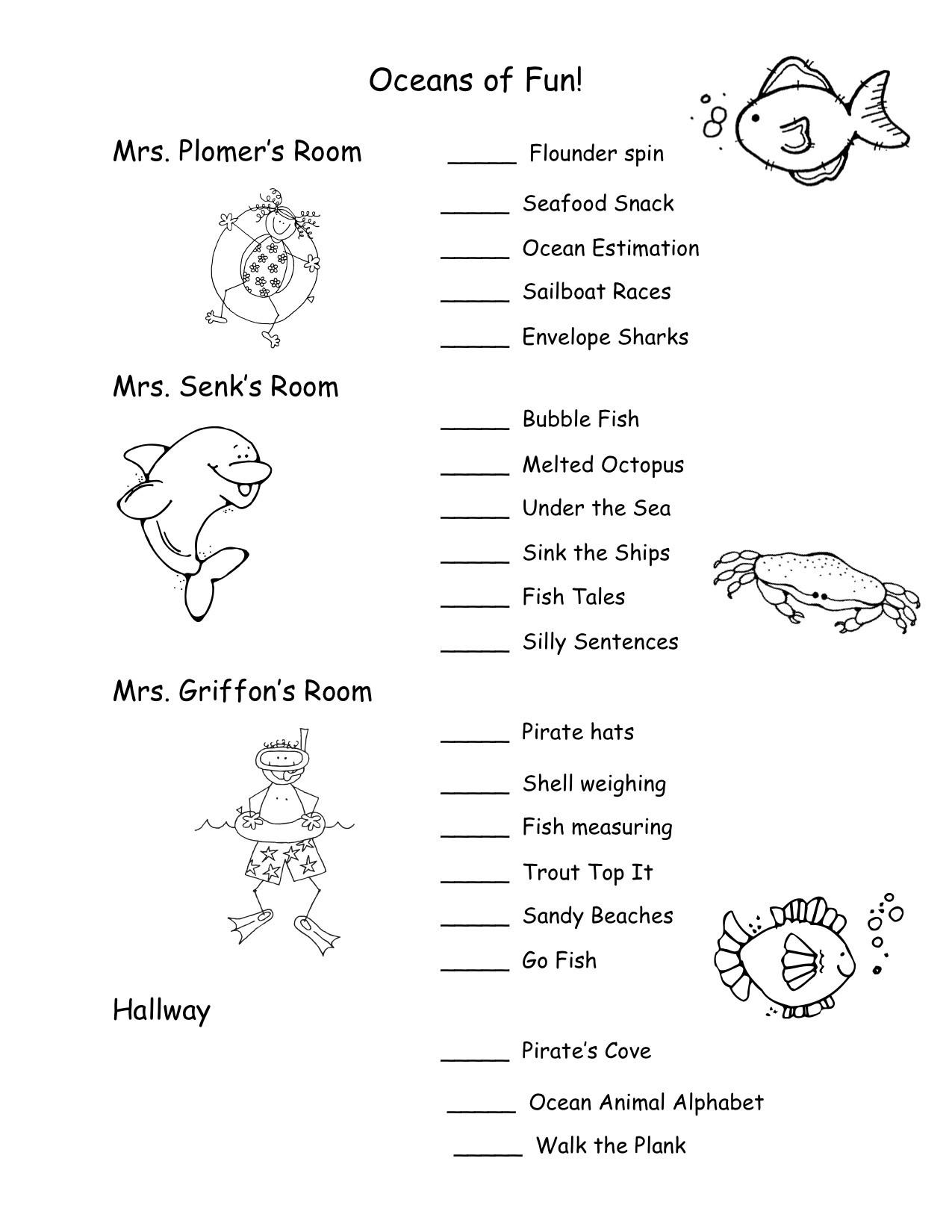 Oceans Worksheets for Kindergarten the Ocean
