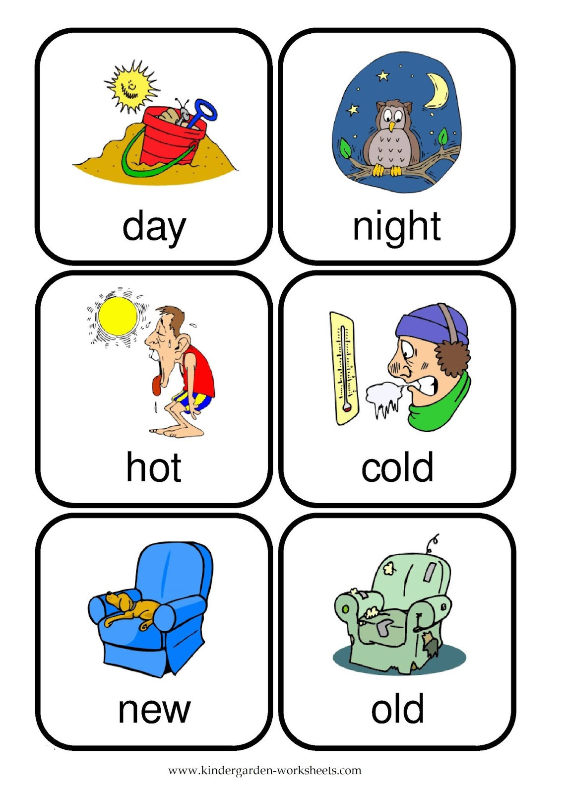 Opposites Preschool Worksheets Kindergarten Worksheets Flashcards Opposite Words