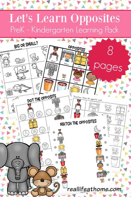 Opposites Preschool Worksheets Opposites Worksheets for Kindergarten and Preschool
