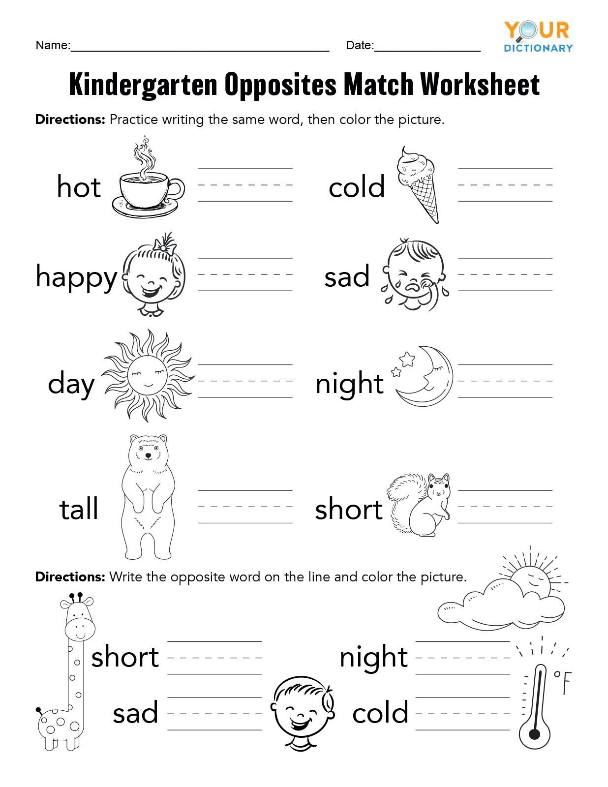 Opposites Worksheet for Preschool Kindergarten Opposites Activities