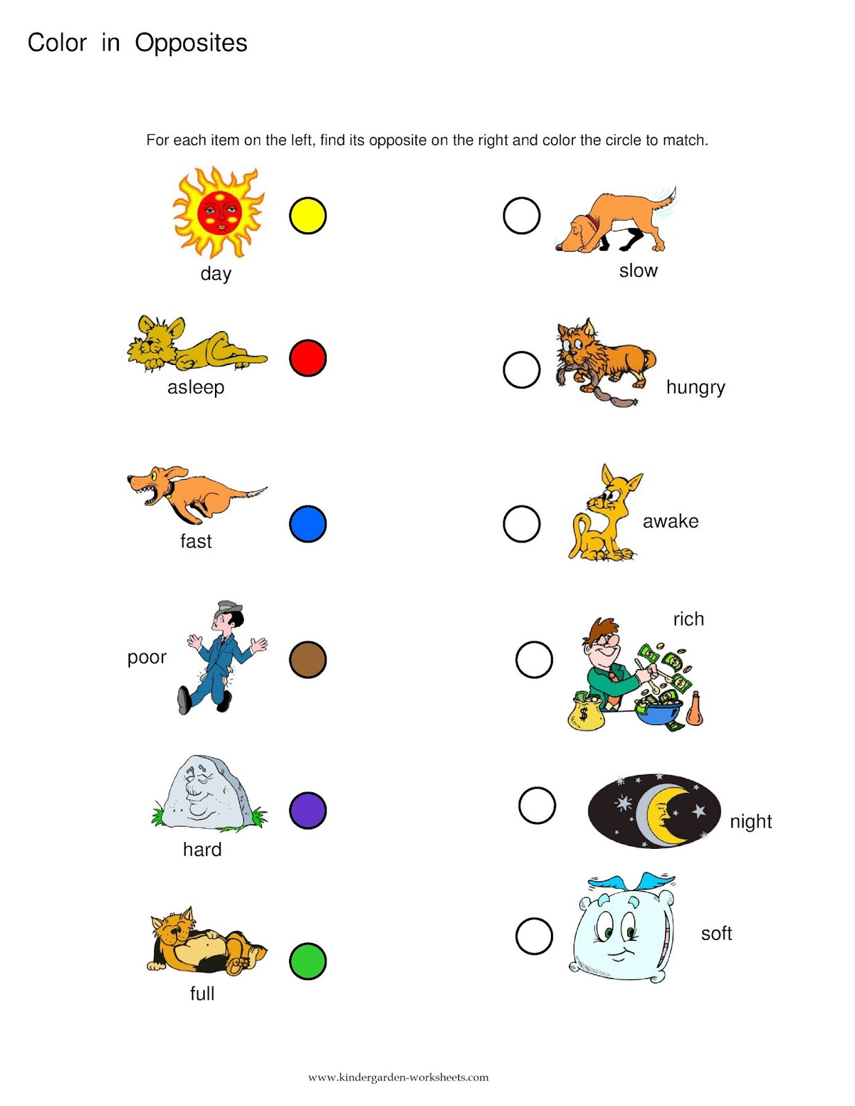 Opposites Worksheet for Preschool Kindergarten Worksheets Kindergarten Worksheets Opposite Words