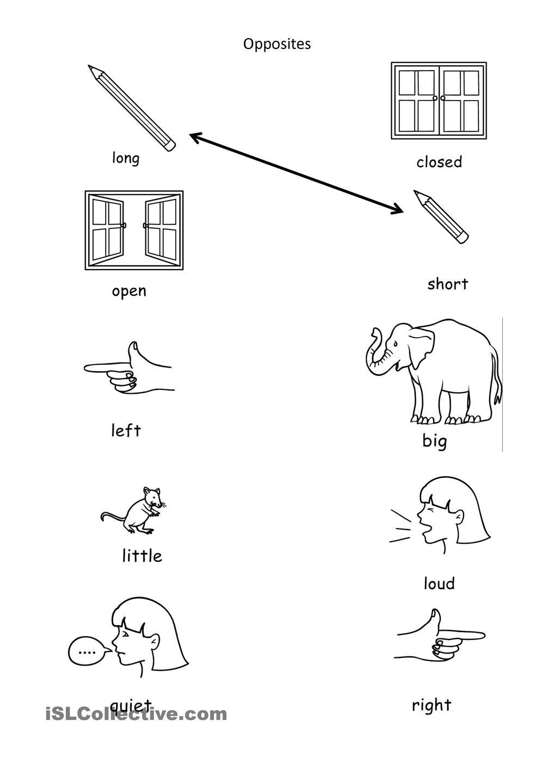 Opposites Worksheet for Preschool Opposites