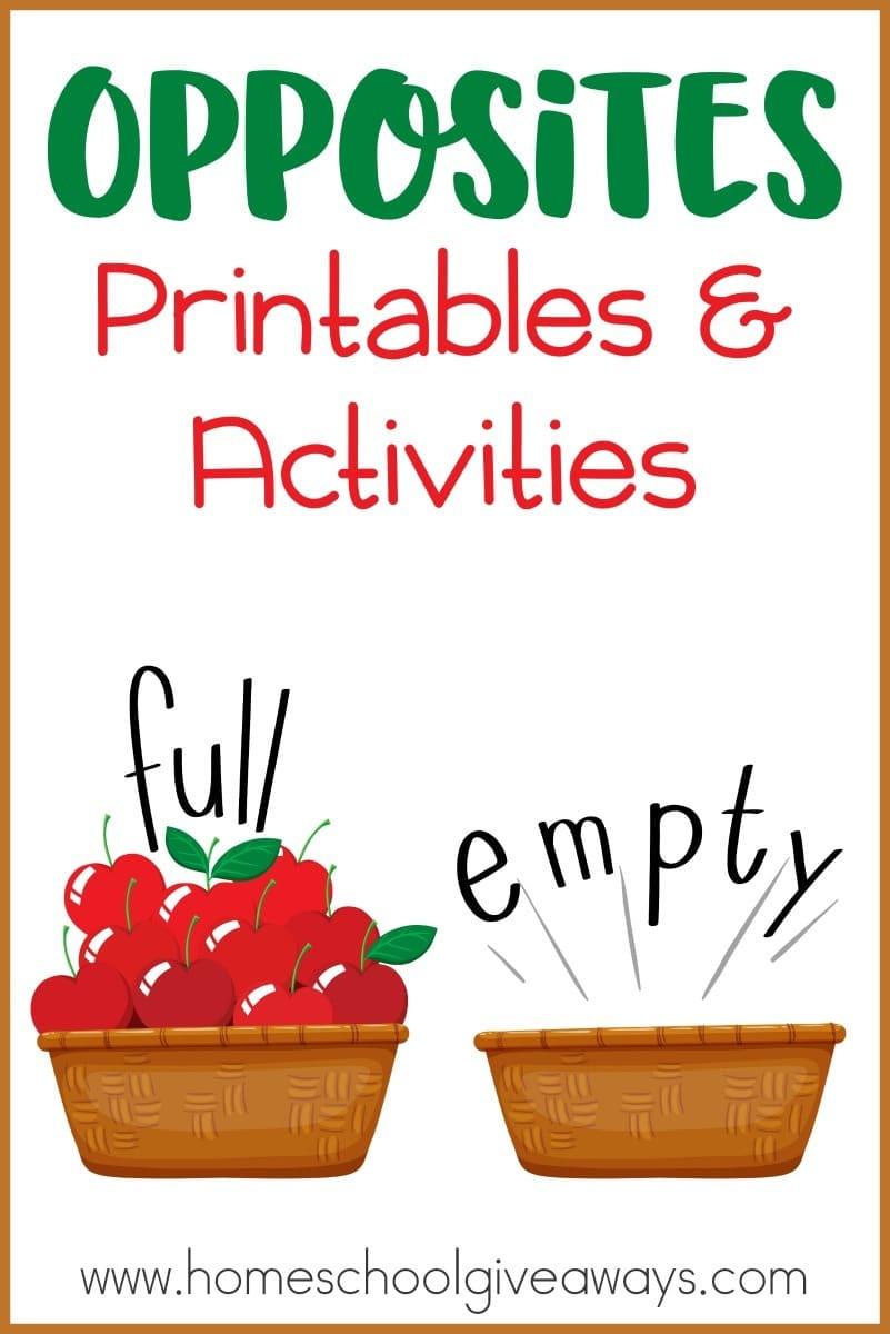 Opposites Worksheet for Preschool Opposites Printables and Activities Homeschool Giveaways