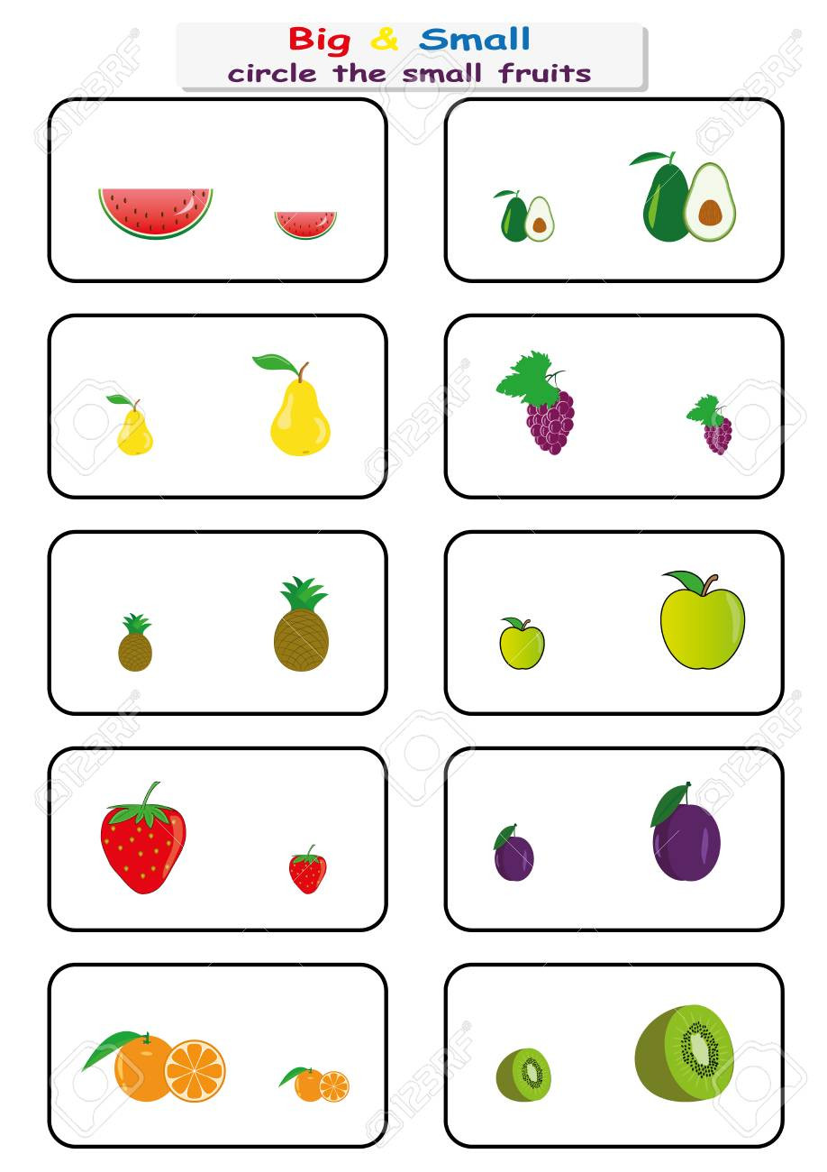 Opposites Worksheet for Preschool Worksheets About Fruits for Preschoolers Clover Hatunisi